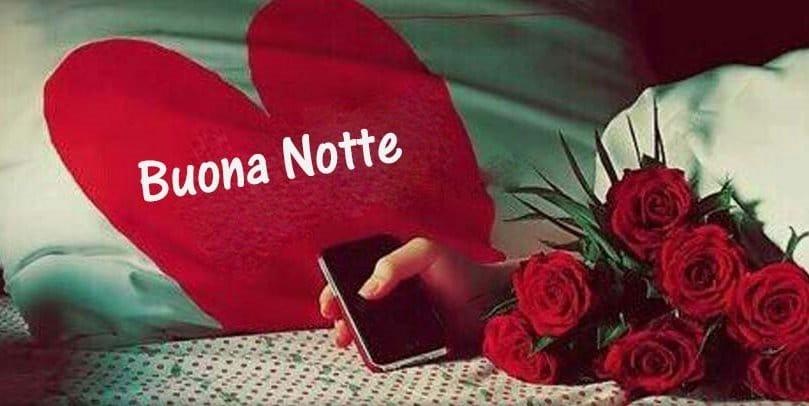 Buonanotte con cuore e rose rosse