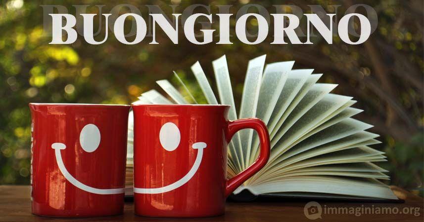 buongiorno tazze caffè sorridenti