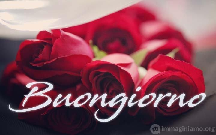 Buongiorno con mazzo/boquet di rose rosse