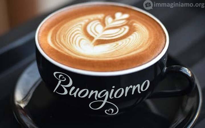 Buongiorno su tazza di caffè/cappuccino