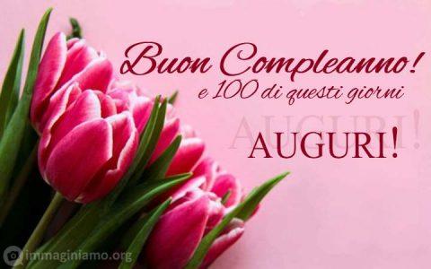 Bigliettino di auguri Buon Compleanno immagini con fiori