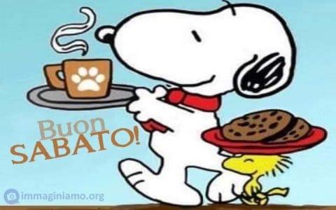 Immagini divertenti Snoopy per augurare un buon sabato